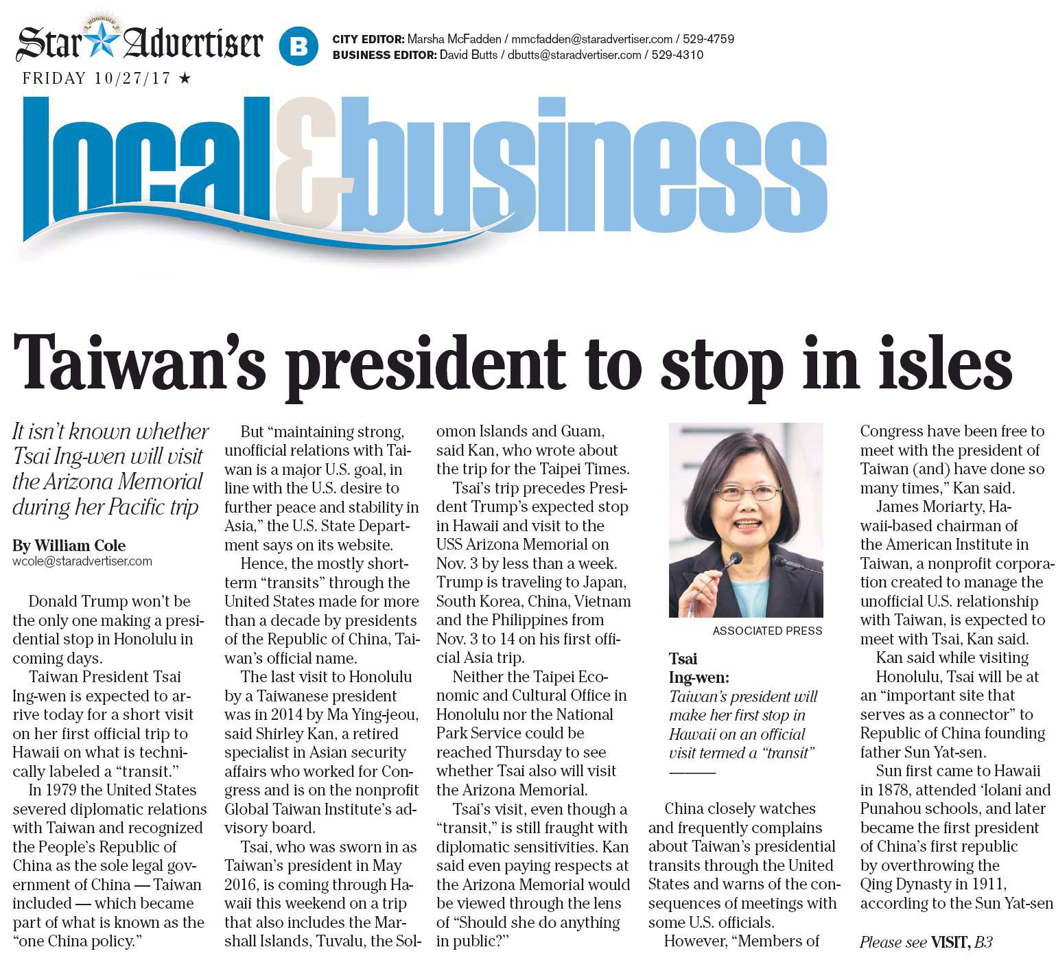 Taiwan's President to stop in Isles