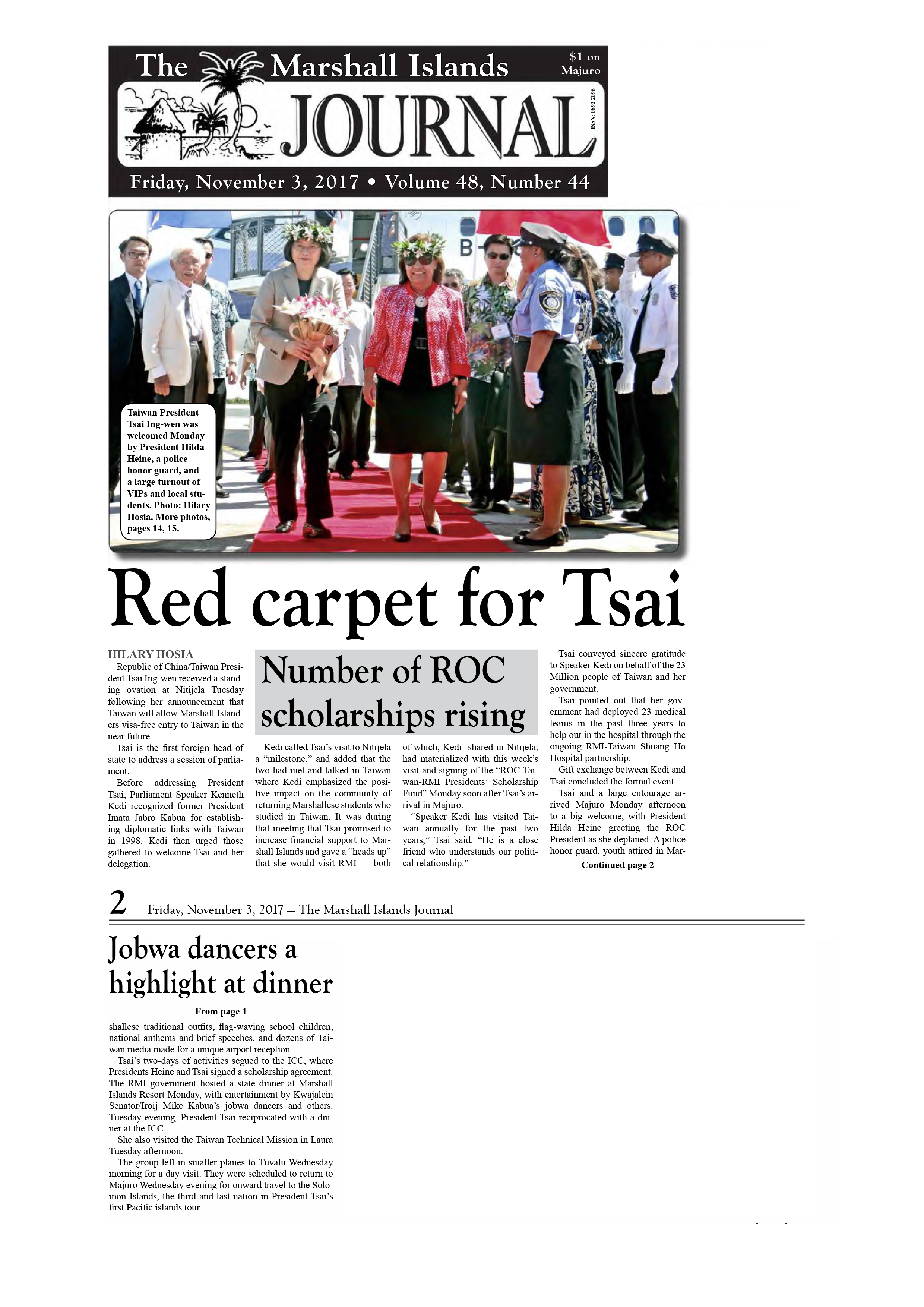 Red carpet for Tsai. Number of ROC scholarships rising