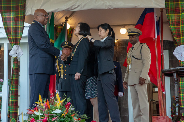 President Tsai decorated by St. Christopher and Nevis Governor-General Tapley Seaton