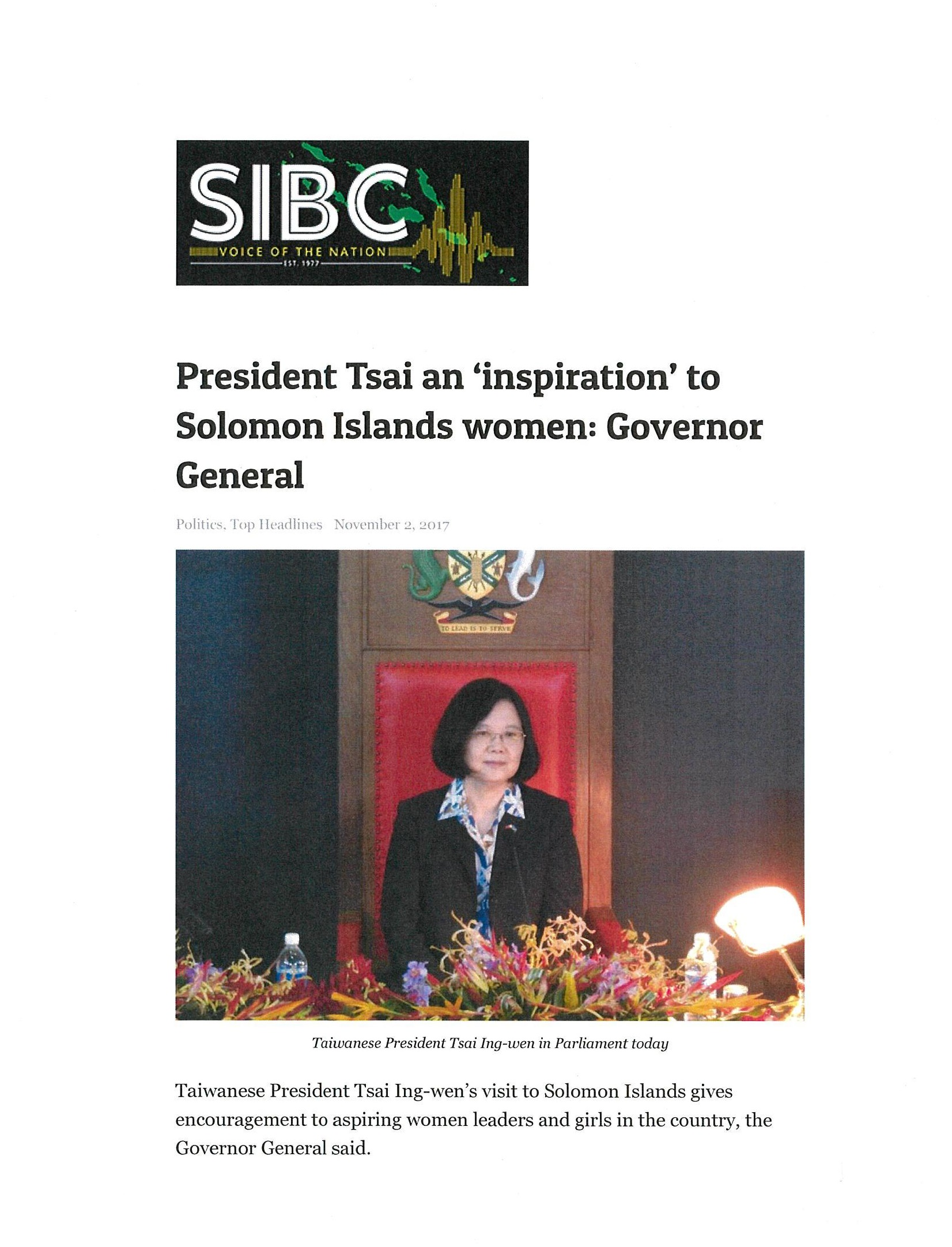 President Tsai an 'inspiration' to Solomon Islands women: Governor General