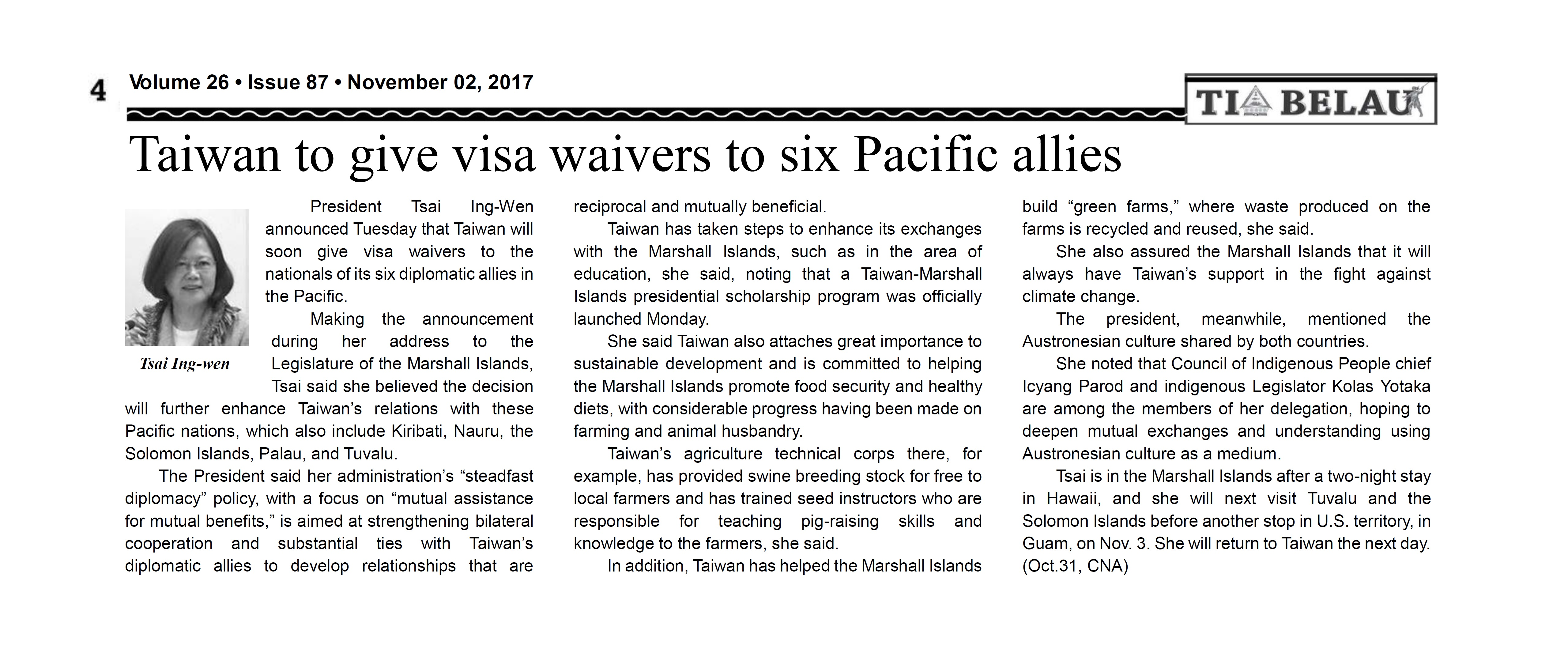 Taiwan to give visa waivers to six Pacific allies