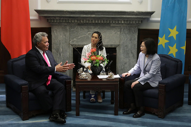 Tuvalu Prime Minister Enele Sosene Sopoaga expresses his opinions during a bilateral meeting with President Tsai.