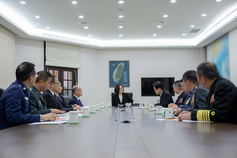 President Tsai Ing-wen convenes a meeting to discuss national defense and military affairs.