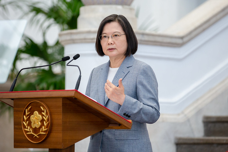 President Tsai issues remarks regarding international trade.