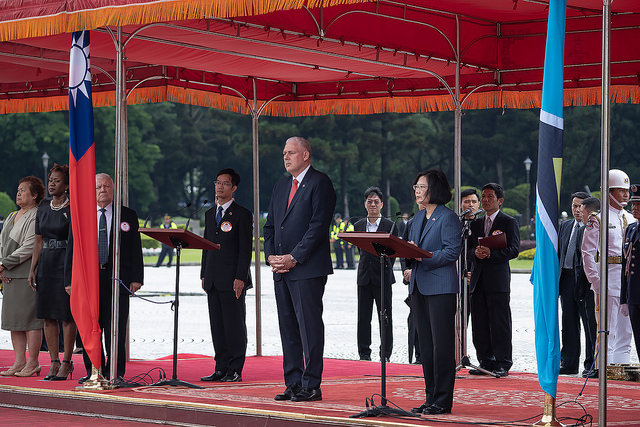 President Tsai delivers remarks at a welcom ceremony with military honos for Saint Lucia Prime Minister Allen Chastanet.