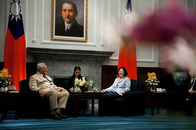 President Tsai meets with a delegation led by Speaker of the Parliament of Tuvalu Otinielu Tauteleimalae Tausi.