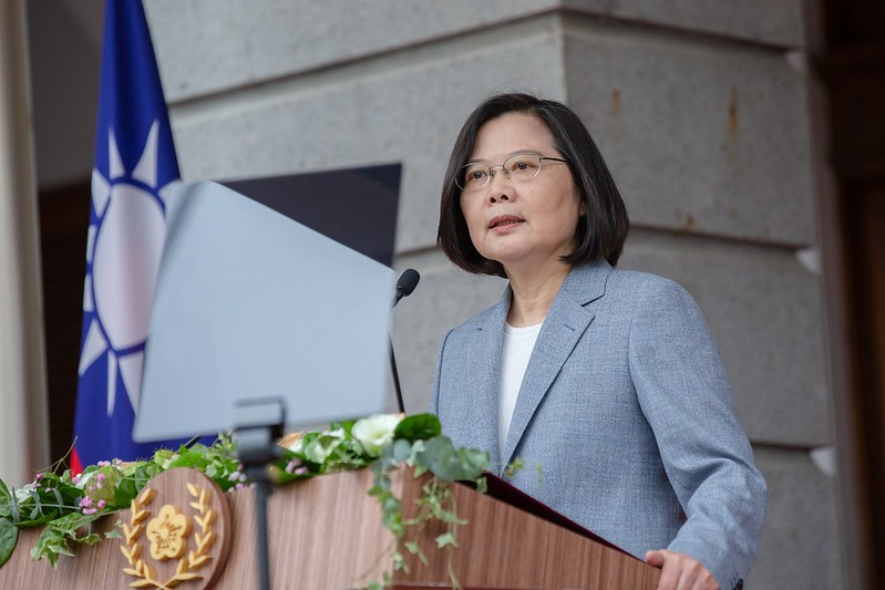 President Tsai delivers her inaugural address at the Taipei Guest House.
