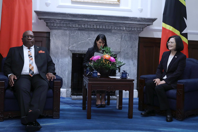 President Tsai meets with St. Christopher and Nevis Prime Minister Timothy Harris.