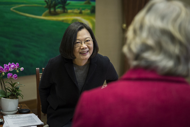 President Tsai is interviewed by the World Association of Women Journalists and Writers.