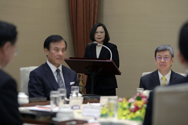 President Tsai delivers remarks at a luncheon meeting with the heads of the five Yuan (i.e. the five branches of Taiwan's government).