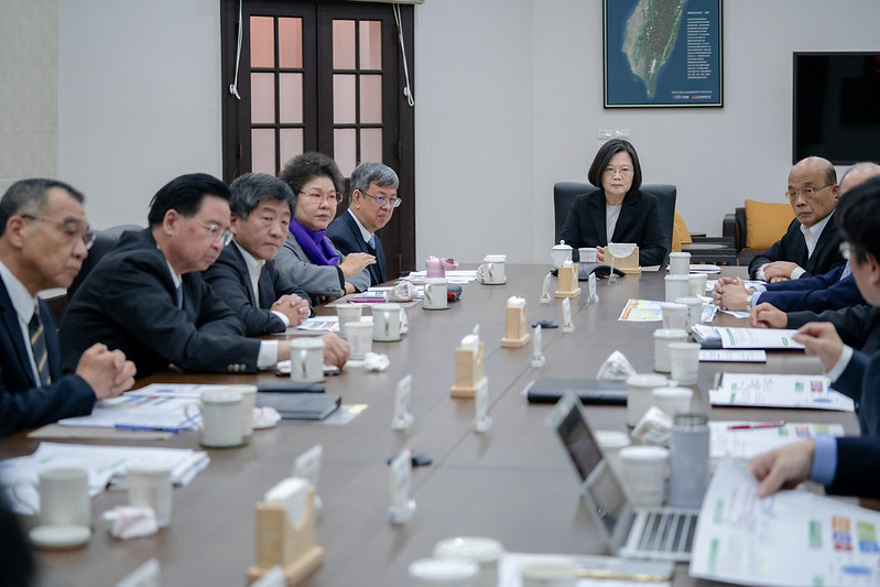 President Tsai hears briefings about efforts of related government agencies to prevent the Wuhan coronavirus outbreak in China.