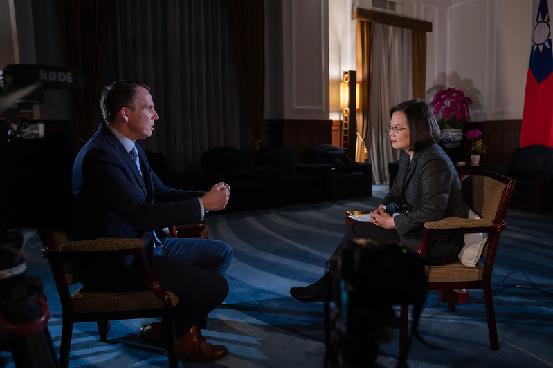 President Tsai Ing-wen is interviewed by the BBC at the Presidential Office.