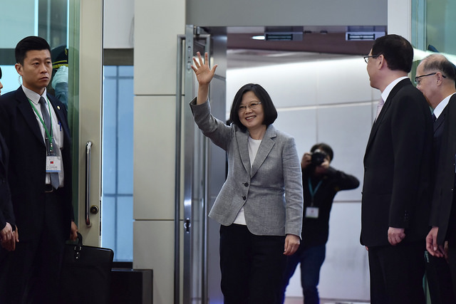 President Tsai waves to the press corps.