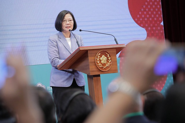 President Tsai delivers remarks at the Presidential Hackathon award ceremony.