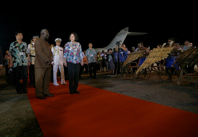 Solomon Islands Prime Minister Manasseh Sogavare welcomes President Tsai at Honiara International Airport in the Solomon Islands.