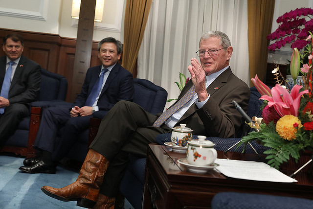 US Senate Taiwan Caucus Co-Chair James Inhofe leads a congressional delegation to meet with President Tsai.
