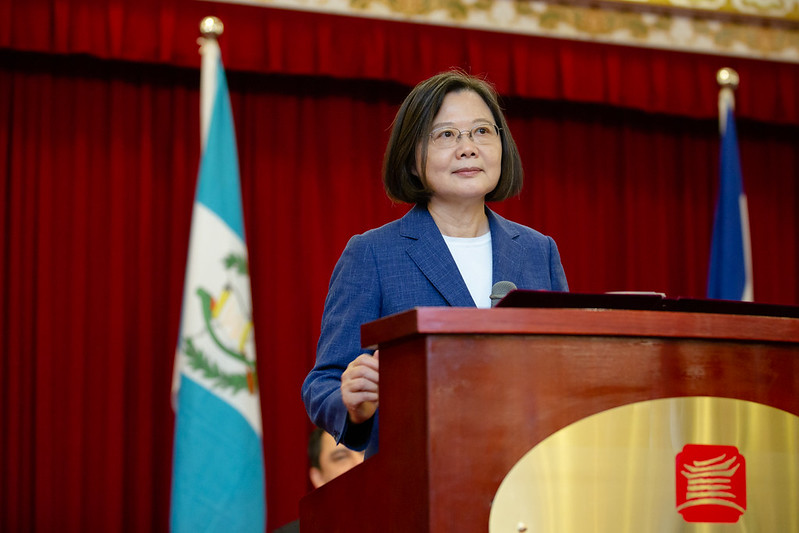 President Tsai Ing-wen addresses a reception for the 199th anniversary of the independence of Central America.