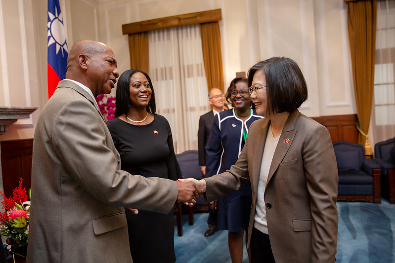President Tsai meets with Anthony Michael Perkins, Speaker of the National Assembly of the Federation of Saint Christopher and Nevis.