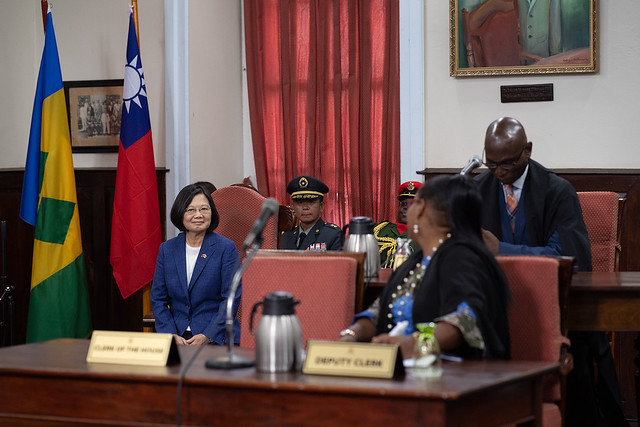 President Tsai Ing-wen addresses St. Vincent and the Grenadines House of Assembly.