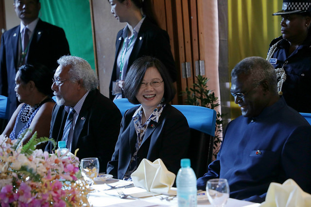 President Tsai attends a state banquet hosted by Solomon Islands Governor-General Frank Kabui.