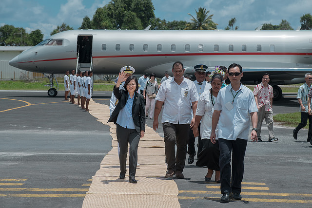 President Tsai arrives at Tuvalu's Funafuti International Airport.