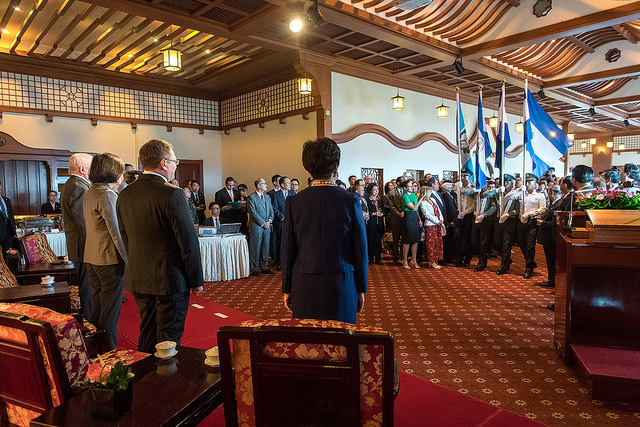President Tsai attends a reception for the 196th anniversary of Central American independence.