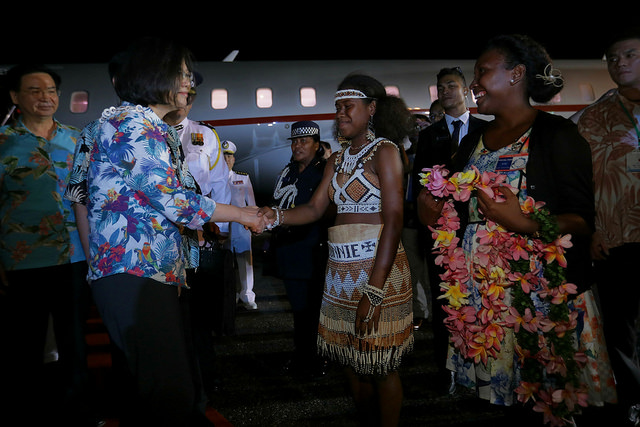 President Tsai arrives at Honiara International Airport in the Solomon Islands.