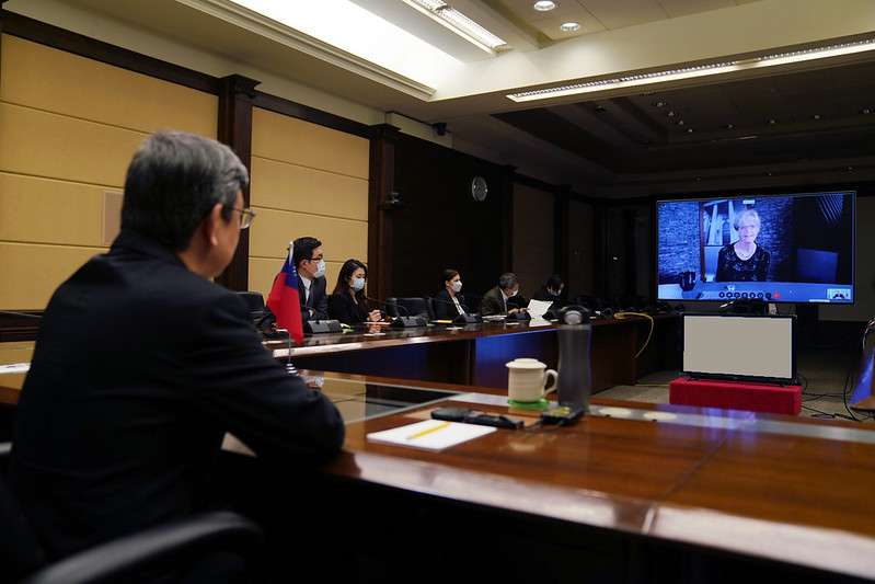 Vice President Chen Chien-jen participates in a videoconference at the invitation of the Johns Hopkins Bloomberg School of Public Health.