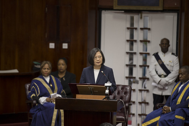 President Tsai addresses the Parliament of Saint Lucia.