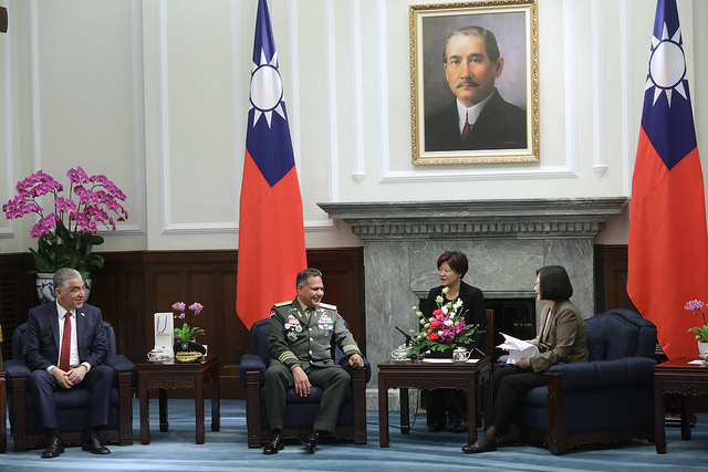 President Tsai meets with a delegation headed by Dominican Republic Minister of Defense Lieutenant General Ruben Dario Paulino Sem.