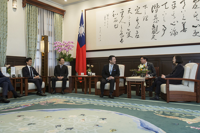 President Tsai meets with a delegation led by Japan's Liberal Democratic Party Youth Division Director Hajime Sasaki.