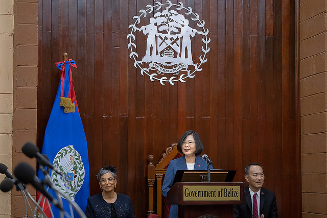 President Tsai delivers an address at the National Assembly of Belize.
