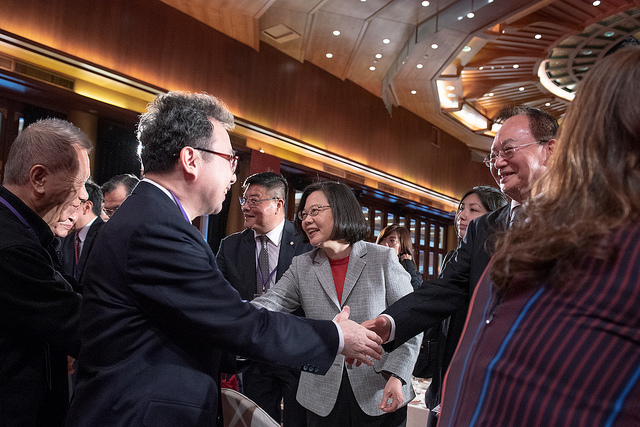 President Tsai shakes hands with guests attending the 2019 Lunar New Year reception for China-based Taiwanese firms.