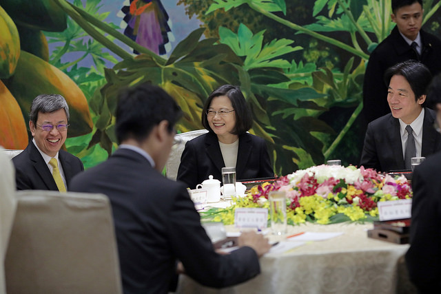 President Tsai hosts a luncheon meeting with the heads of the five Yuan (i.e. the five branches of Taiwan's government).