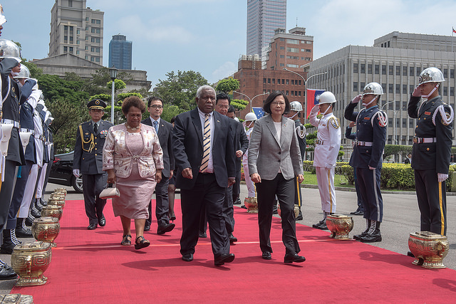 President Tsai Ing-wen welcomes Solomon Islands Prime Minister Rick Nelson Houenipwela with full military honors.