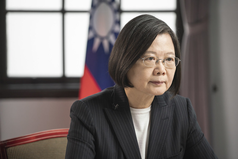 President Tsai delivers a speech via video for the opening ceremony of the Forum 2000 Conference.