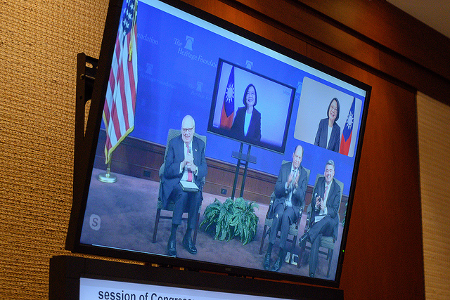 Heritage Foundation founder Dr. Ed Feulner attended a videoconference with President Tsai.