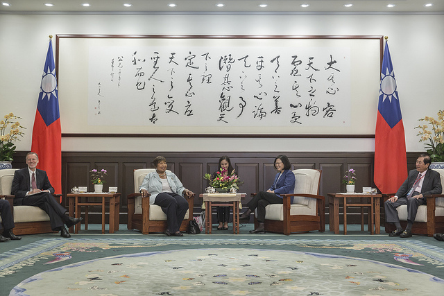 President Tsai meets with US Congresswoman Eddie Bernice Johnson and keynote speakers participating in the 2018 Indo-Pacific Security Dialogue.