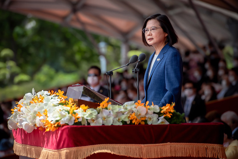 """President Tsai delivers an address entitled """"Forging a Stronger Consensus: Standing United to Protect Taiwan."""""""