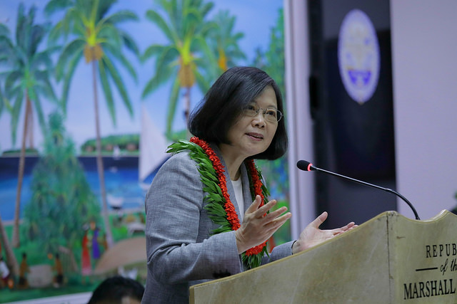 President Tsai Ing-wen delivers an address at the parliament of the Marshall Islands.