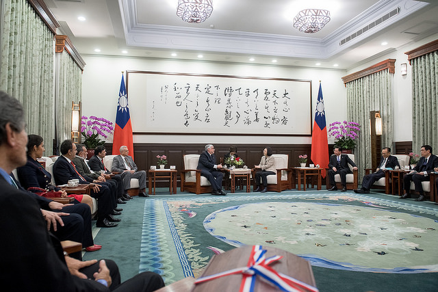 President Tsai meets with a delegation led by Paraguayan Congress and Senate President Fernando Lugo.