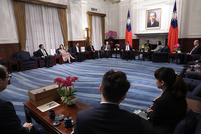 President Tsai meets with a delegation led by Paraguayan Congress and Senate President Silvio Ovelar.