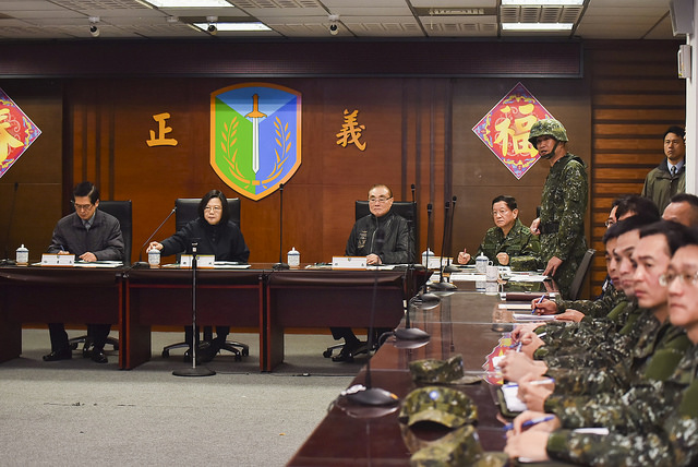 President Tsai is briefed on disaster relief efforts by the armed forces.