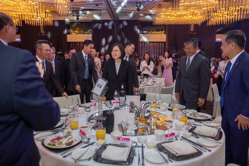 President Tsai Ing-wen attends a dinner for the Taiwan Swinging Skirts LPGA.
