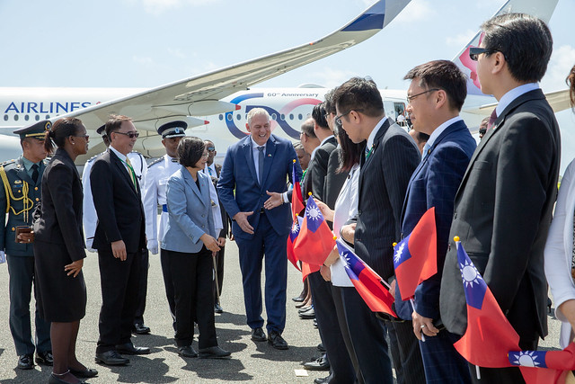 President Tsai Ing-wen arrives in St. Lucia.