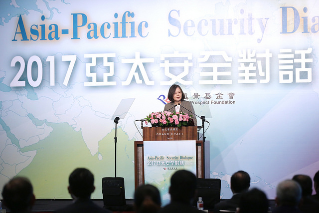 President Tsai delivers remarks at the 2017 Asia-Pacific Security Dialogue.