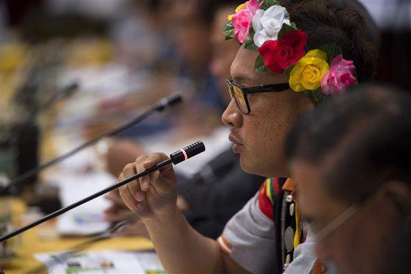 A committee member expresses opinions at the first meeting of the Presidential Office Indigenous Historical Justice and Transitional Justice Committee.