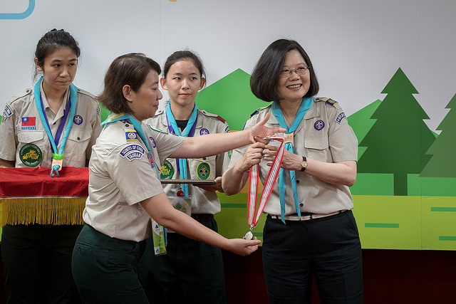 President Tsai Ing-wen attends the opening of the 11th National Scout Jamboree.