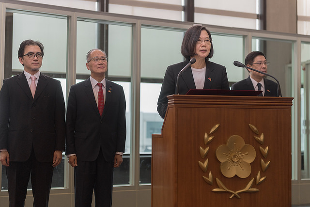 President Tsai issues remarks at Taiwan Taoyuan International Airport after returning from her state visit to Swaziland.