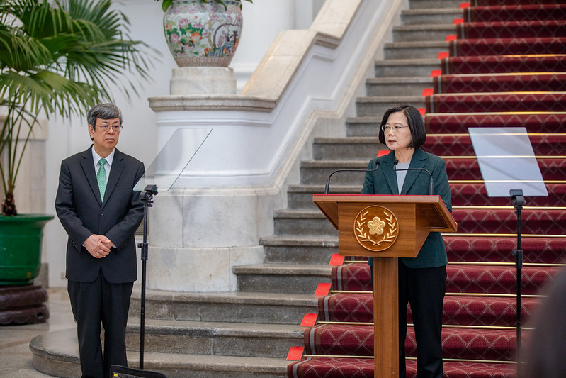 President Tsai, accompanied by Vice President Chen, issues remarks regarding the government's response to COVID-19 pandemic.